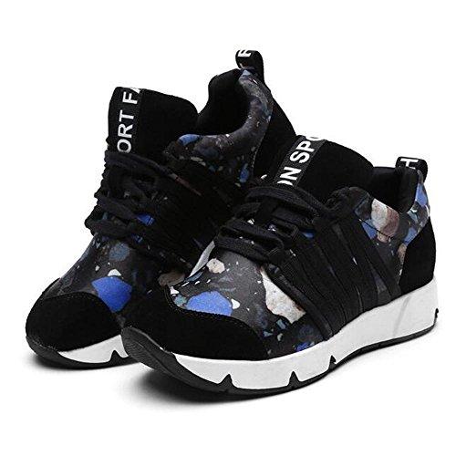 Mr. LQ - Cuoio genuino delle donne di modo di Split Joint Sneaker Blue