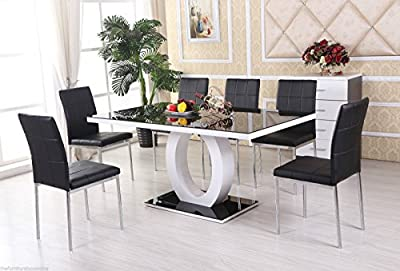 GIOVANI Black/White High Gloss Glass DINING TABLE ONLY