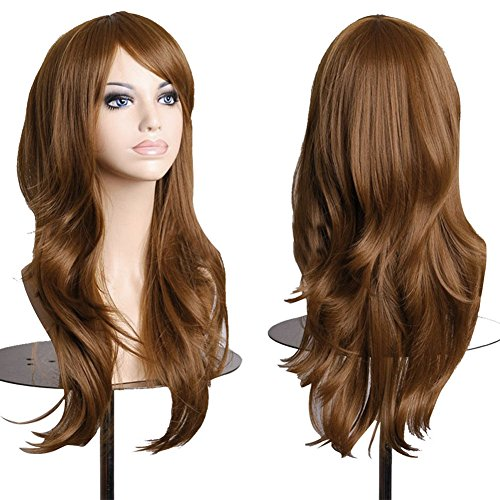 S-noilite 23 58cm Long Layer Wavy Full Wigs Light Brown Synthetic Hair Curly Anime Wig Cosplay Party Heat Resistant by S-noilite (Brown Pferdeschwanz Perücke)