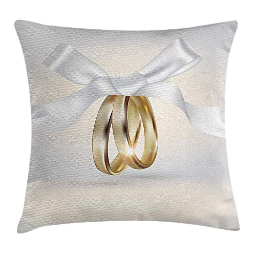 Wedding Throw Pillow Cushion Cover, Pair of Wedding Rings with Ribbon Marriage Icon Realistic Celebration Photo, Decorative Square Accent Pillow Case, 18 X 18 Inches, White and Yellow
