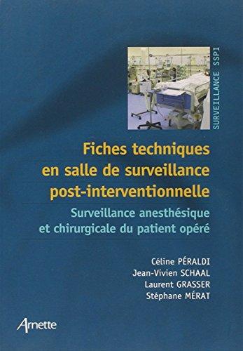 Fiches techniques en salle de surveillance post-interventionnelle: Surveillance anesthésique