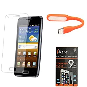 iKare Pack of 2 Premium Shatter Proof Tempered Glass Ultra Clear Screen Protector for Micromax Canvas Sliver 5 Q450 + Flexible USB LED Bright Light