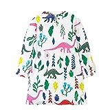 JERFER Kleinkind Baby Mädchen Dinosaurier Floral Printed Volle Hülse Baumwolle Kinder Kleidung Herbst Kleid 2-7 Jahre (Mehrfarbig, 2T)