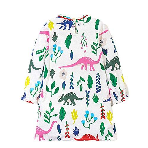 JERFER Kleinkind Baby Mädchen Dinosaurier Floral Printed Volle Hülse Baumwolle Kinder Kleidung Herbst Kleid 2-7 Jahre (Mehrfarbig, - Niedliche Kleine Dinosaurier Kleinkind Kostüm