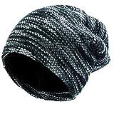 Slouch Mütze Hut Baggy Skull Cap Mütze mit Warm gefüttert Unisex Retro Slouchy übergroßen Ski Wintermütze, Grau, Einheitsgröße