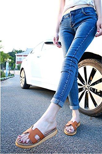 Minetom Donna Estate Casuale Pantofole Piatto Tacco Piattaforma Scarpe Moda Sandali Spiaggia Sandals Morbido Suola Marrone