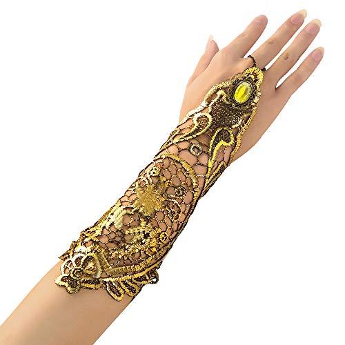 Beelittle Vintage 1920er Jahre klassische Retro-Spitze fingerlose lange Handschuhe aushöhlen Kette Armband für Halloween ()