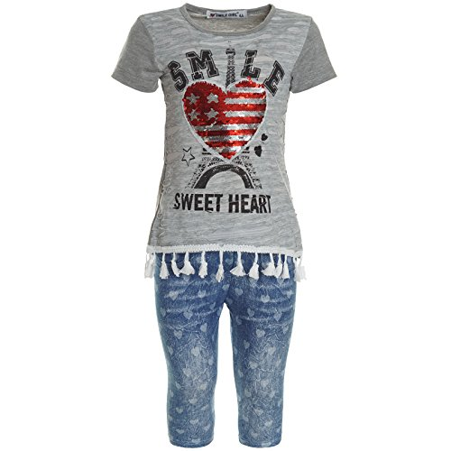 BEZLIT Mädchen Wendepailletten Set Shirt Capri Leggings Kurzee Hose 21371, Farbe:Grau;Größe:104 (Kinder Set Capri)