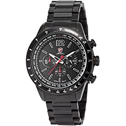 Shark - SH315 Mens Quartz Watch, Black Dial, Chronograph, Analog, Stainless Steel Band