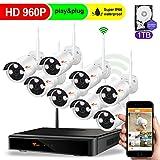 CORSEE Plug and Play 960P 8 Kanal Funk Videoüberwachung Set,Wifi CCTV NVR mit 960P Videoüberwachungs kameras,Bewegungswarnung per iOS und Android-App,mit 1TB Festplatte