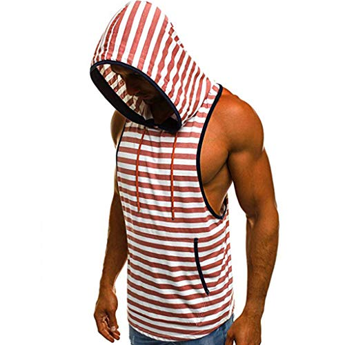 WooCo Striped Herren Tanktop Bodybuilding Fitness Gym Tank Top Unterhemd Tankshirt T-Shirt Stringer Kapuzenpullover Sport Hemd Weste mit Kapuze Sommer Basic Kurzarm(Rot,Größe:L/EU Größe:M) -