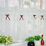 Amerikanisches Land Art gestickten Gaze Vorhang Bistrogardine Küchengardine Scheibengardine, BxH 90x45cm, Weiss