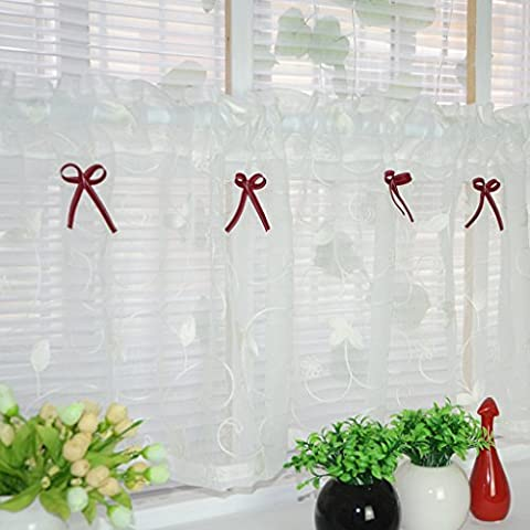 Cafe Curtains for Kitchen Embroidered Curtains Valance Short Net