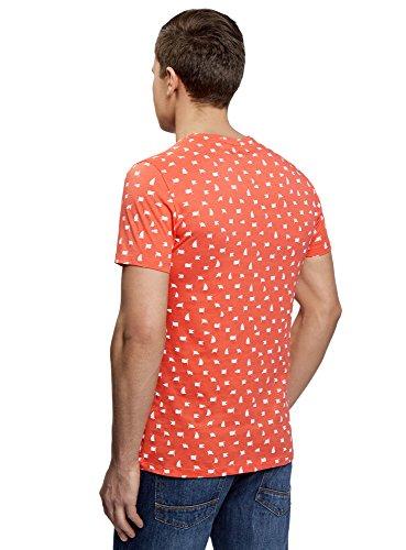 oodji Ultra Herren Bedrucktes Baumwoll-T-Shirt Orange (4310G)