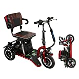Red Electric Mobility Scooter with 3 Wheeled, Aviation Travel Safe Electric Wheelchair Foldable Heavy Duty Power Wheel Chair