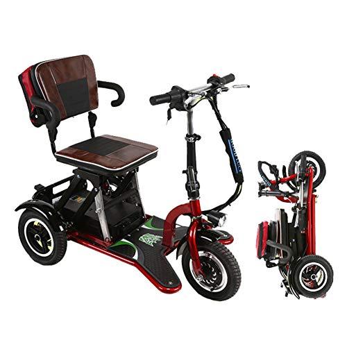 Dp-chair Rote Elektromobilität Scooter mit 3 Wheeled, Luftfahrt Reise sicher Elektro Rollstuhl faltbar Heavy Duty Power Wheel Stuhl,Rot -