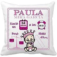 Kembilove Cojín Natalicio - Cojín Natalicio con Datos Nacimiento del Bebe - Regalo Original para Recién Nacido - Regalo celebración nacimiento niño o niña