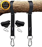 EKKONG Tree Swing Hanging Kit Holds 1200lbs, Easy & Fast Swing Hanger Installation to Tree, 2 Tree Straps(5 FT )and 2 Safety Lock Carabiner Hooks, Perfect For Swings and Hammocks - 100% Waterproof