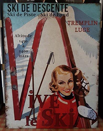 Antic Line Plaque «Ski de Descente »25 * 33 cm