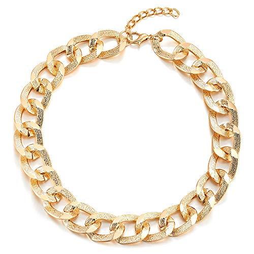iMETACLII Oro Statement Colgante Collar, Textura Círculos Cadena Enlace Grande Babero Gargantilla Choker, Fiesta, Peso Ligero