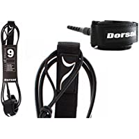 DORSAL® Premium ProComp Surfboard 6, 7, 8, 9, 10 FT Surf Leash - Black 9 FT Longboard/black