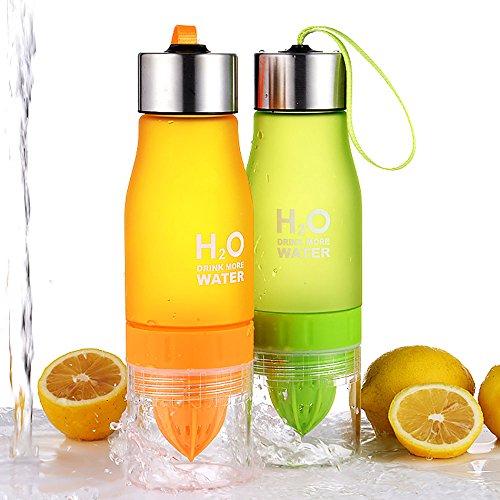 H2O Fruit-Ei 650ml Wasser Flasche–Create Your Own natürlich Geschmack Fruit infundiert Wasser, Saft, Eistee & Limonade für auf der Go Hydration Orange
