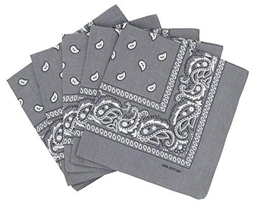 KARL LOVEN Bandanas 20er Pack 100% Baumwolle Paisley Halstuch Kopf Hals Schal (20er Pack, Grau)