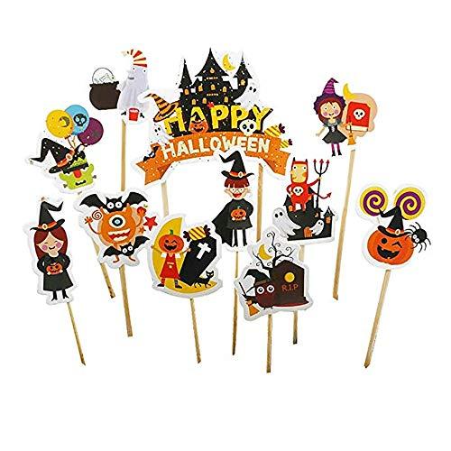 Techrace Halloween Kuchen Kürbis Geist Spinne Bat Kuchen Plakat Halloween Kuchen Flag Thema Geburtstag Party Supplies 11 teile/satz