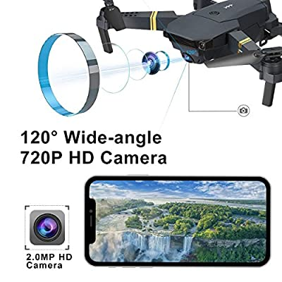 YMXLJJ RC Drone With Camera Quadcopter WIFI FPV With 2MP Wide-Angle Camera Foldable Height Hold/3D Flip/APP Control Pocket Helicopter Black