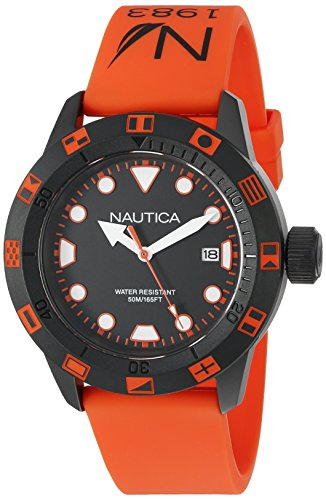 Nautica Unisex NAD10077G NSR 100 FLAG Analog Display Quartz Orange Watch