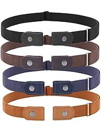 JasGood 4 Stück Schnallefrei Verstellbarer Gürtel Ohne Schnalle für Damen oder Herren, Unsichtbarer Elastischer Gürtel für Jeans Hosen