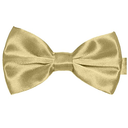 elb Satin Seide-Optik | vor-gebundene Anzugschleife Doppelflügel | verstellbar (Pastell-gelbes Band)