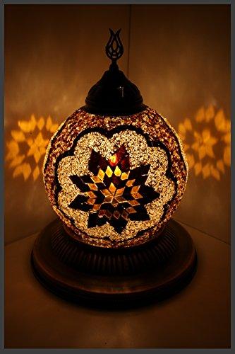 Gold-mosaik-tisch-lampe (Mosaik - Kugellampe Mosaiklampe Glas Kugel NEU & EXKLUSIV Mosaikkugel orientalische lampe Gold Samarkand-Lights)