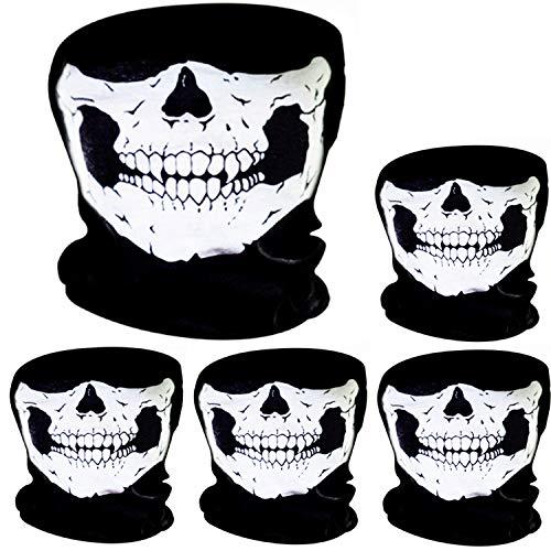 Mann Kostüm Bandana - Pangda 5 Stück Schädel Maske Schädel Gesicht Maske Motorrad Fahrrad Halbgesicht Skelett Maske Halloween Outdoor Sport Kopftuch