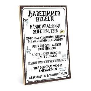 TypeStoff Holzschild mit Spruch - Badezimmer Regeln - im Vintage-Look mit Zitat als Geschenk und Dekoration (Größe: 19,5 x 28,2 cm)