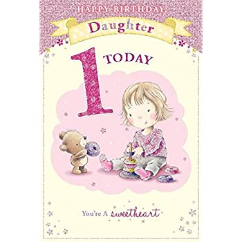 Daughters 1st birthday card 1 today little girl bear playing daughters 1st birthday card 1 today little girl bear playing with toy bookmarktalkfo Image collections