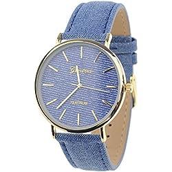 Unisex Geneva Japanese Movement Gold-Tone Denim Covered Faux Leather Strap Watch