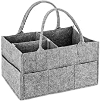 Baby Diaper Caddy, MaidMAX Portable Changing Table Organiser Nursery Storage Bin Basket with Changeable Compartments, Baby Wipes Bag, Grey
