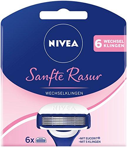NIVEA Sanfte Rasur Wechselklingen im 6er Pack (2 x 6 Stück), 6 Rasierklingen für NIVEA Rasierer mit Wechselklingen, Rasieraufsätze mit je 5 Einzelklingen und Gleitpad