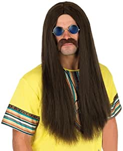 Mens 60s Hippy Brown Wig And Glasses