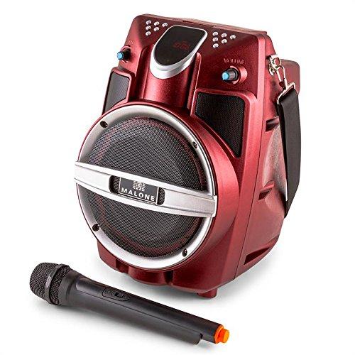 Malone PSP-6AK-RD Karaoke Lautsprecherbox Bluetooth Lautsprecher (30 Watt RMS, USB-SD-Slots, Transportgurt, Fernbedienung, UKW-Radio, Akku-Betrieb, Funkmikrofon) rot