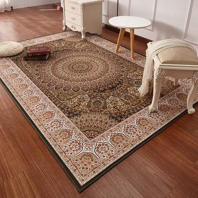 Zhyyhz Bereich Teppiche Oriental Traditional Floral Carpet Leicht zu reinigen Fleck/Fade Resistant Shed Free Dicker weicher Plüsch für Wohnzimmer Esszimmer,H,5.2ft*7.5ft -