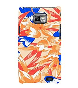 PrintVisa Colorful Flower And Leaves Pattern 3D Hard Polycarbonate Designer Back Case Cover for Samsung Galaxy S2