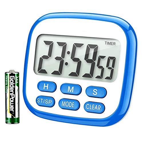 Habor Küchentimer Digital Magnetisch Kitchen Timer Großem LCD Bildschirm mit Lauter Alarm 24H Countdown Timer Retractable Stand Magnetic Backing für Kochen, Backen, Sport, Studieren, Spielen Blau
