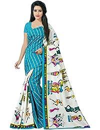 Jaanvi Fashion Women's Bhagalpuri Silk Kalamkari Printed Saree