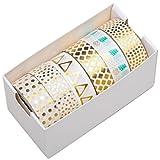 100% Mosel – 6er Washi Masking Tape Set Gold - 60 m Dekoband selbstklebend, je 15 mm breit, 6 verschiedene Tapes | Klebeband