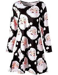 [Weihnachtskleid Damen] Festlich Kleid Langarm Kleid Grosse grössen Blusenkleid mit Weihnachtsmann Schneemann Partykleid Knielang Weihnachten Kleid für Damen Cocktailkleid