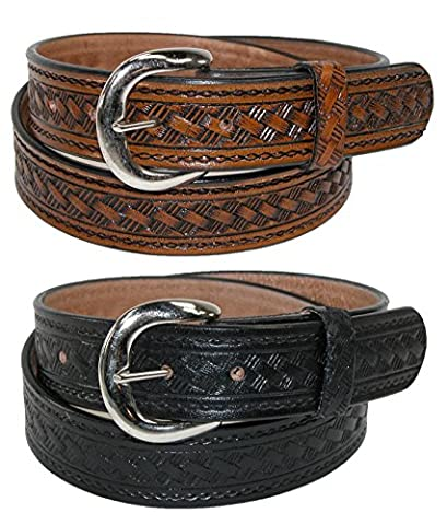 CTM Men's Leather 1 3/8 Inch Removable Buckle Belts (Pack of 2), 36, Brown Basketweave and Black Plain