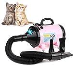 MVpower Secador de Pelo para Perros Gatos Mascotas Secador de Aseo Cabello con calentador Calentador Blaster Lavado en Seco Potencia 2800W Temperatura y Velocidad Ajustable Color Rosado
