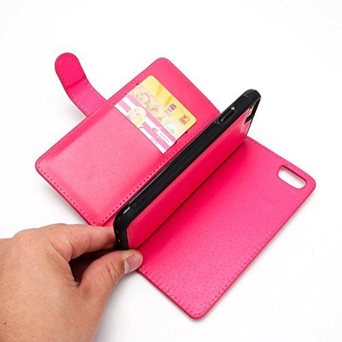 Große Menge Solid Color Uni Korn Leder Tasche Tasche mit Reißverschluss Sicherheit mit abnehmbarem Rücken Abdeckung für iPhone 6 & 6s ( Color : Rose ) Red